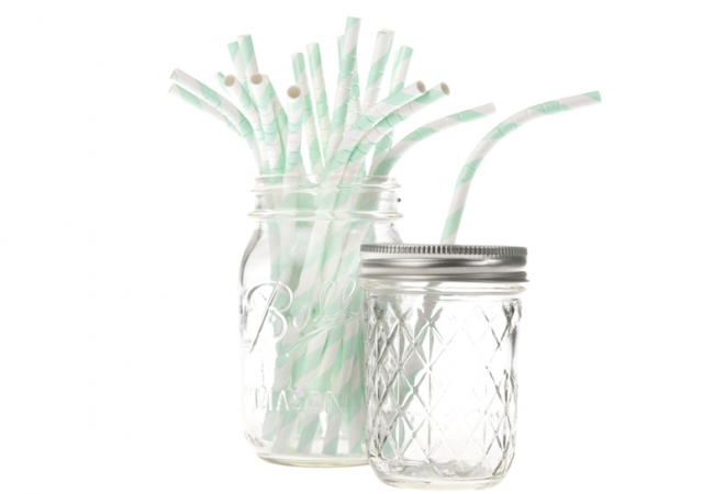 Bendy paper straws stripe mint