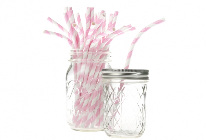 Bendy paper straws stripes soft pink - doos 600 stuks